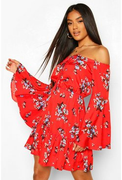 Red Floral Off Shoulder Ruffle Mini Dress