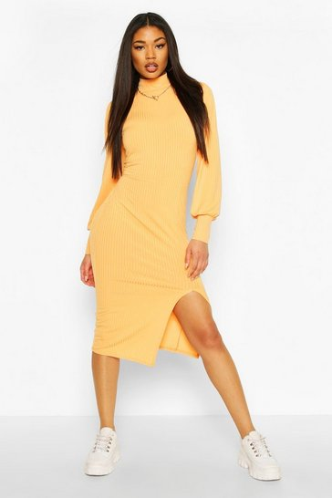 Apricot Jumbo Rib High Neck Balloon Sleeve Dress