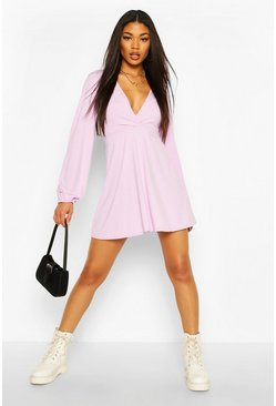 Jumbo Rib Plunge Balloon Sleeve Skater Dress , Lilac