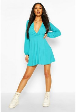 Turquoise Jumbo Rib Plunge Balloon Sleeve Skater Dress