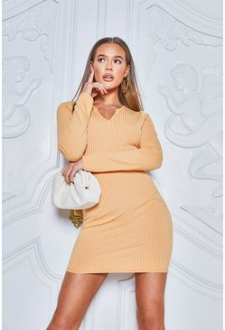 Jumbo Rib V-Neck Rib Bodycon Dress , Apricot