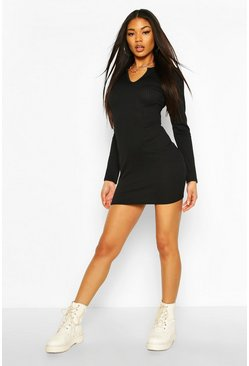 Black Jumbo Rib V-Neck Rib Bodycon Dress