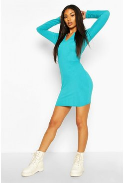 Turquoise Jumbo Rib V-Neck Rib Bodycon Dress