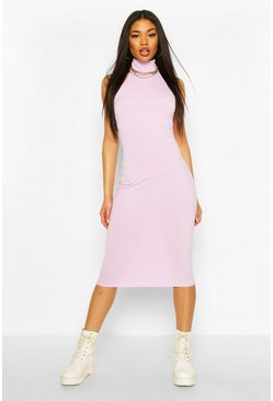 Jumbo Rib High Neck Racer Midi Dress , Lilac