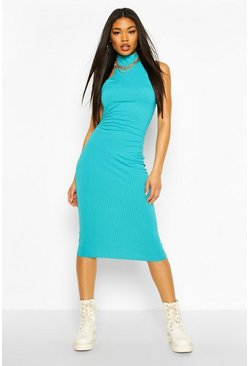 Turquoise Jumbo Rib High Neck Racer Midi Dress