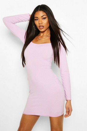 Lilac Jumbo Rib Sqaure Neck Bodycon Dress