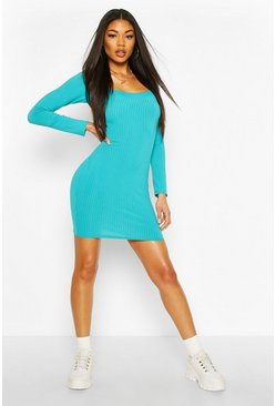 Turquoise Jumbo Rib Sqaure Neck Bodycon Dress
