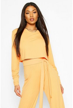 Jumbo Rib Long Sleeve Batwing Rib Crop Top , Apricot