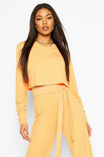 Apricot Jumbo Rib Long Sleeve Batwing Rib Crop Top