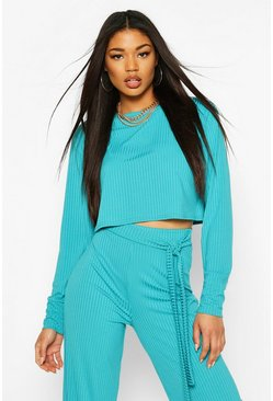 Turquoise Jumbo Rib Long Sleeve Batwing Rib Crop Top