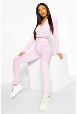 Lilac Jumbo Rib Tie Front High Waisted Leggings