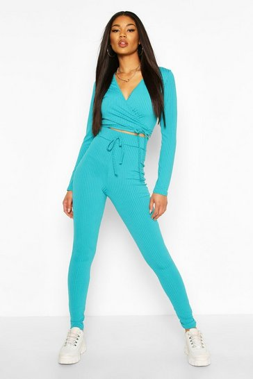 Turquoise Jumbo Rib Tie Front High Waisted Leggings