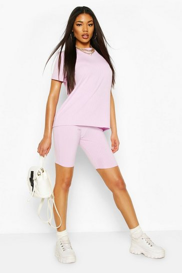 Lilac Jumbo Rib High Waisted Rib Cycling Shorts