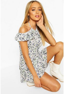 Ditsy Floral Off Shoulder Ruffle Mini Dress, White