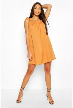 Tie Shoulder Ruffle Detail Swing Dress, Camel