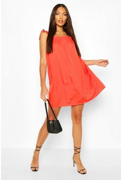 Tomato Tie Shoulder Ruffle Detail Swing Dress