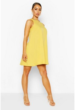 Yellow Round Neck Sleeveless Shift Dress