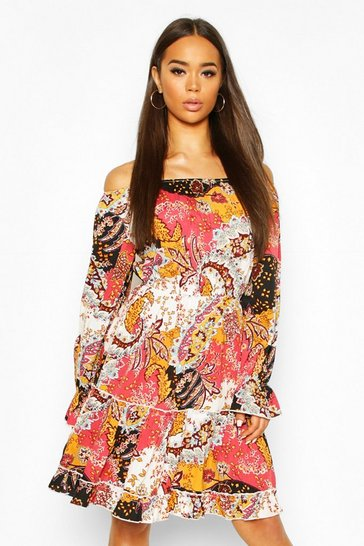 Pink Paisley Off Shoulder Ruffle Detail Skater Dress