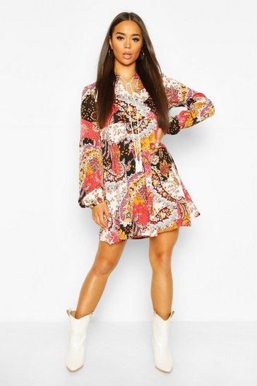 Pink Paisley Tassel Detail Long Sleeve Smock Dress
