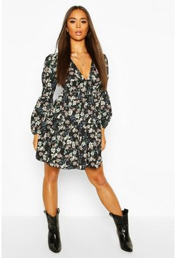 Black Oriental Floral Shirred Detail Drop Skater Dress