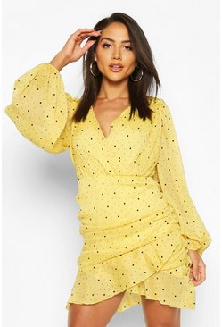 Mustard Folk Dobby Sparkle Mesh Wrap Ruffle Mini Dress