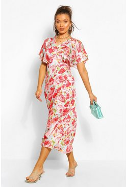 Blue Floral Satin Wrap Angel Sleeve Midi Dress