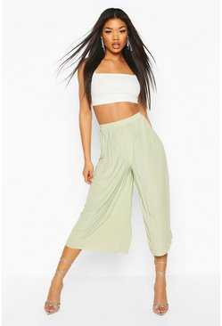 Sage Pleated Wide Leg Trousers