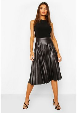Black Pleated Wet Look Midi Skirt