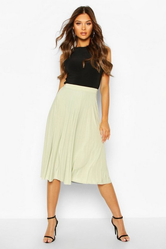 Sage Pleated Full Midi Skirt