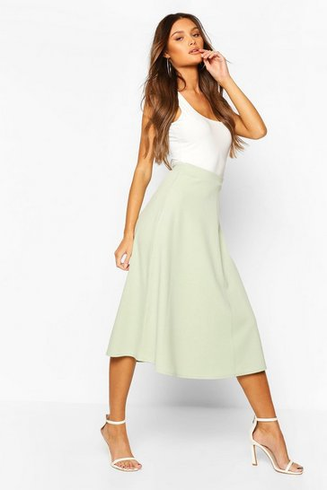 Sage Plain Full Circle Midi Skirt