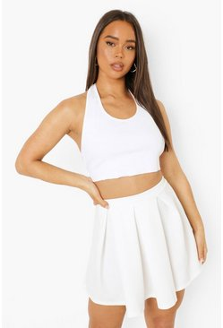 Ivory Scuba Box Pleat Skater Skirt
