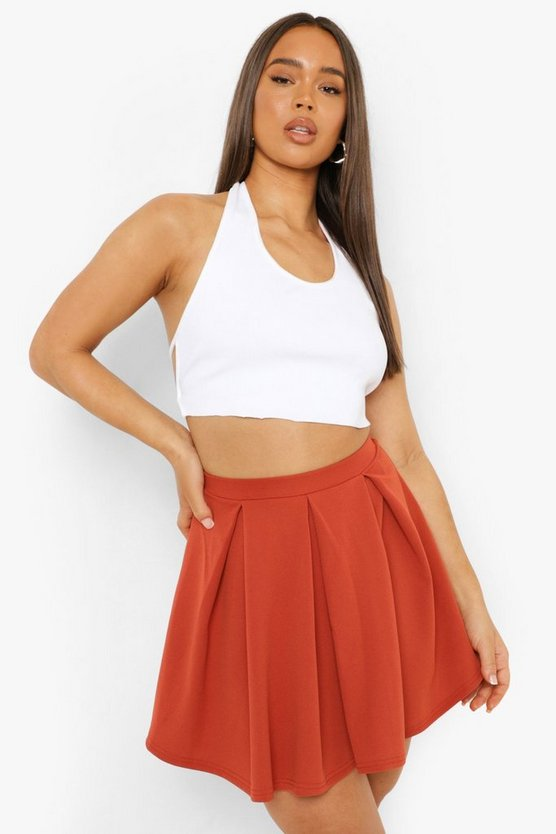 Terracotta Scuba Box Pleat Skater Skirt