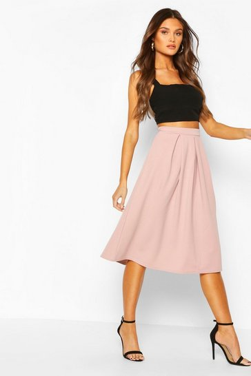 Fawn Scuba Midi Box Pleat Skater Skirt