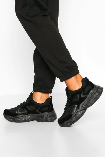 Black Chunky Sole Panelled Trainers