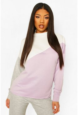 Lilac Colour Block Rib Detail Tracksuit