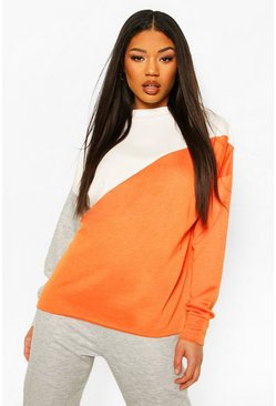 Tangerine Colour Block Rib Detail Tracksuit