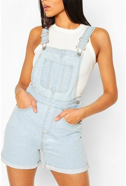 Denim Dungaree Short , Light blue