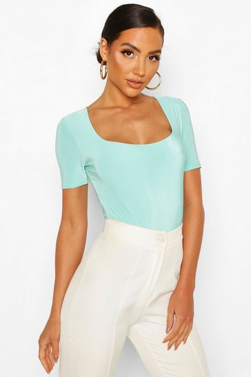 Mint Double Layer Slinky Square Neck Bodysuit