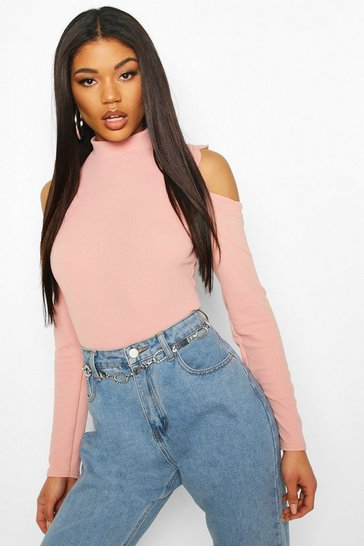 Rose Scallop Cold Shoulder Bodysuit