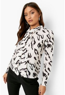Woven Animal Print Pussy Bow Blouse , Nude
