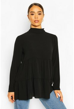 Black Woven Smock Tunic Top