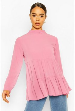 Woven Smock Tunic Top, Blush