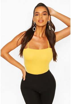 Mustard Square Neck High Rise Bodysuit
