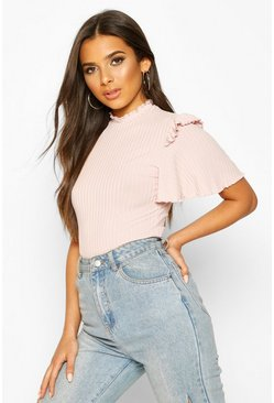 Blush Ribbed Ruffle Sleeve Bodysuit