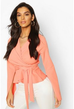 Peach Crepe Split Sleeve Wrap Top