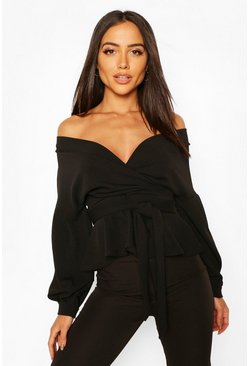 Black Off The Shoulder Wrap Top