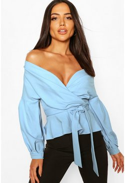 Sky Off The Shoulder Wrap Top