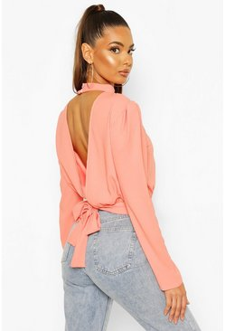 Peach Woven Open Back Blouse