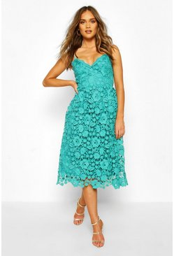 Teal Strappy Crochet Lace Skater Midi Dress