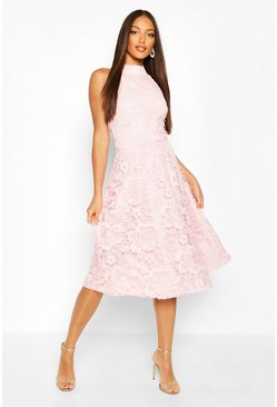 High Neck Lace Midi Skater Dress, Pink